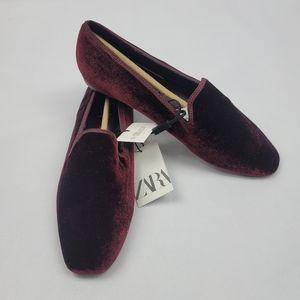 NWT Zara burgundy velvet smoking slipper shoes